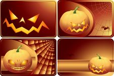 Set Of Halloween Cards Stock Photography