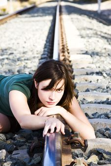 Free Sad Woman On Railtrack Stock Photo - 6763900