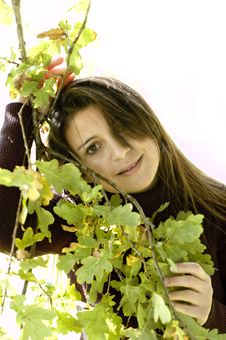Free Woman With Leaves. Royalty Free Stock Photography - 6763957