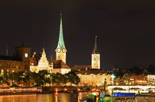 Free The Night View Of Major Landmarks In Zurich Stock Photos - 6764303