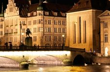 The Night View Of The Fraumunster In Zurich Royalty Free Stock Images
