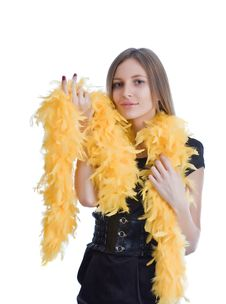 Free Portrait Of The Beautiful Girl With Yello Feathers Royalty Free Stock Photos - 6764468