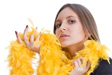 Free Portrait Of The Beautiful Girl With Yello Feathers Stock Photography - 6764502