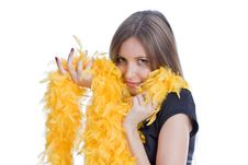 Free Portrait Of The Beautiful Girl With Yello Feathers Stock Photos - 6764553