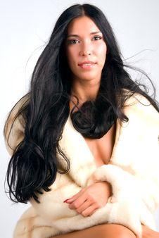 Girl In Fur Coat Stock Photo