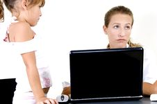 Mother And Daughter With Laptop Royalty Free Stock Image