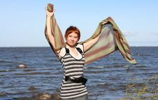 Free Red Haired Woman With Scarf. Stock Photography - 6765462
