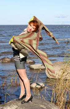 Free Red Haired Woman With Scarf. Stock Image - 6765521