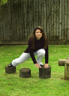 Free Woman And Wooden Stepping Stones Stock Photo - 6765830