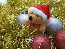Free Teddy Bear And  Decorative Christmas Bauble Royalty Free Stock Photography - 6765957