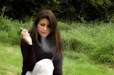 Smoking Woman. Stock Photography