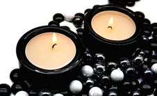 Candles In Candlesticks Royalty Free Stock Photography