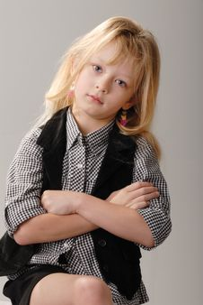 Free Cute Little Blond Girl Poses Stock Images - 6768454
