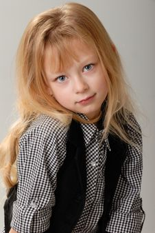 Free Cute Little Blond Girl Poses Stock Photography - 6768462