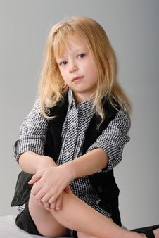Free Cute Little Blond Girl Poses Stock Image - 6768491