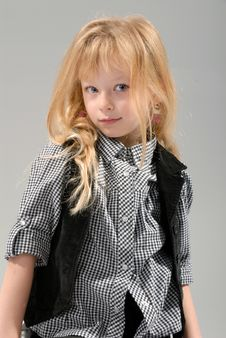 Free Cute Little Blond Girl Poses Stock Photo - 6768510