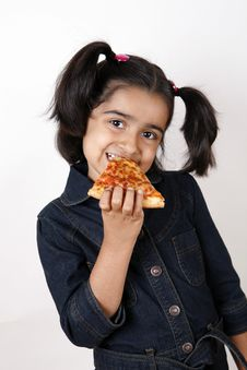 Free Girl Eating Pizza Slice Royalty Free Stock Photography - 6769097