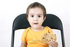 Free Small Girl Eating Cookies Royalty Free Stock Photos - 6769158
