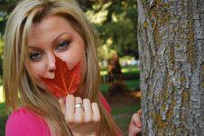 Free Women Holding Leaf Stock Image - 6769621