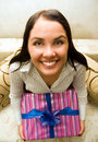 Free Funny Girl Holding A Gift Box Stock Photography - 6770772