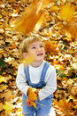 Free Young Boy With Autumn Leaves Royalty Free Stock Photography - 6778227