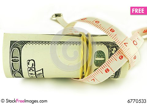 Free One Hundred Dollar Bill Roll - Dollar Grows Thin Stock Photos - 6770533