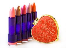 Free Five Lipsticks And Mirror Stock Photo - 6770010