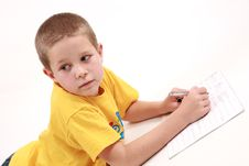 Boy And Pen2 Royalty Free Stock Photo