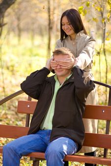 Young Girl Has Closed Its Eyes A Young Man Stock Photography