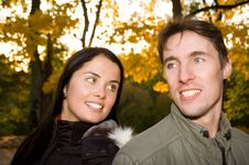 Free Happy Couple In The Evening Park Royalty Free Stock Photo - 6770775