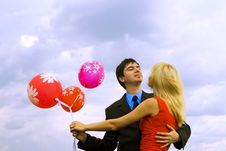 Free Couple With Balloons Stock Images - 6772754