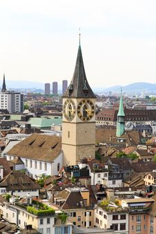 Free The Aerial View Of Zurich Cityscape Royalty Free Stock Image - 6773036