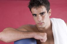 Young Boxer Man After The Exercise With The Punch Stock Image