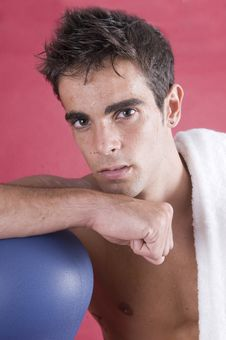 Boxer Man After The Exercise With The Punch Royalty Free Stock Photos