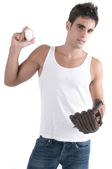 Free Baseball Player Isolated In White With Ball And Gl Stock Image - 6774251