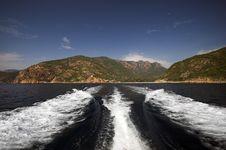 Boat Wake In The Mediterranean Sea Stock Photo