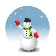 Free Snowman Waving Cartoon Royalty Free Stock Photography - 6776147