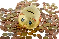 Piggy Bank With Small Change Royalty Free Stock Photos