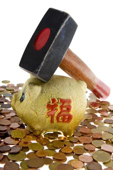 Piggy Bank With Small Change Royalty Free Stock Image