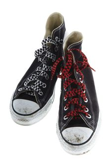 Free Freaky Shoes With A Red And White Shoelace Royalty Free Stock Image - 6776626