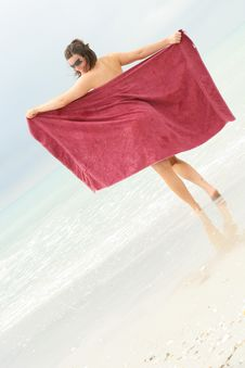 Hot Brunette Beauty At The Beach Royalty Free Stock Photography