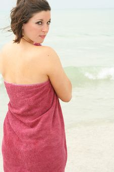 Free Brunette Covering Herself With A Towel Royalty Free Stock Photo - 6776655