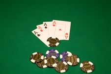 Four Aces In Casino Stock Image