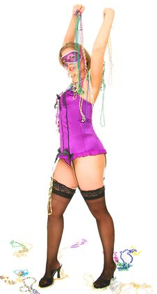 Free Mardi Gras Girl Holding Up Beads Stock Photo - 6778350