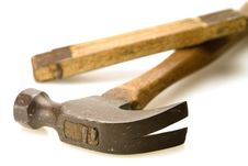Free Old Hammer And Ruler Stock Images - 6779154