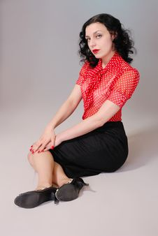 Free Retro Pin-up Girl In Red Blouse Royalty Free Stock Photos - 6779498