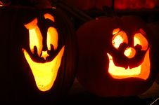 Free Carved Lighted Pumpkins Royalty Free Stock Photo - 6779565