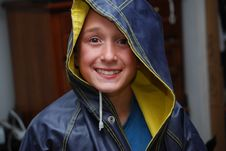 Free Boy Ready To Play  Spring Rain Stock Photo - 6779910