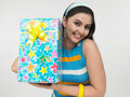 Free Asian Lady With A Gift Box Royalty Free Stock Photo - 6787335