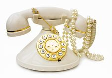 Free Vintage Phone With Pearls And Clipping Path Stock Images - 6780084